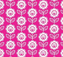 Hot Pink Fun Smiling Cartoon Flowers by ImageNugget
