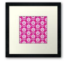 Hot Pink Fun Smiling Cartoon Flowers Framed Print