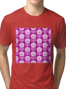 Magenta Fun Smiling Cartoon Flowers Tri-blend T-Shirt