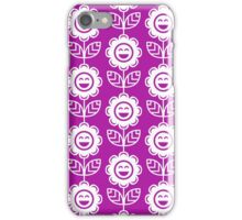 Magenta Fun Smiling Cartoon Flowers iPhone Case/Skin