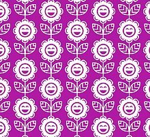 Magenta Fun Smiling Cartoon Flowers by ImageNugget