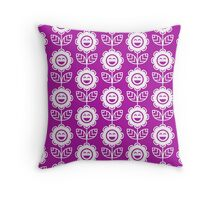 Magenta Fun Smiling Cartoon Flowers Throw Pillow