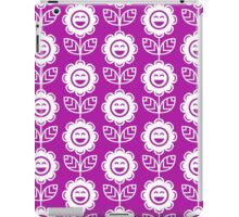 Magenta Fun Smiling Cartoon Flowers iPad Case/Skin