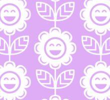Lilac Fun Smiling Cartoon Flowers Sticker