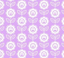 Lilac Fun Smiling Cartoon Flowers by ImageNugget