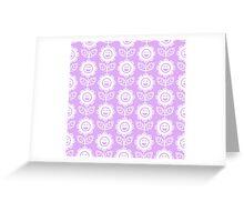 Lilac Fun Smiling Cartoon Flowers Greeting Card