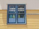 E-Shed detail in muted blue, yellow and white by Ian Ker