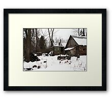 In winter - old farmer house Framed Print