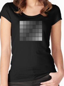 greyscale blocks Women's Fitted Scoop T-Shirt