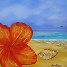 Un Titled, flower,shell on the beach  by Kym  Breeze