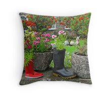 Old Boots, New Shoots Throw Pillow