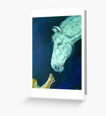 Reach White Horse and Child Animal Art Painting Greeting Card