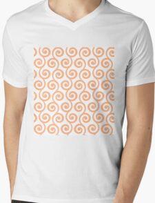 Peach Geometric Swirl Pattern Mens V-Neck T-Shirt