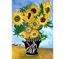 Sunflowers in Darth Vader Vase Photographic Print