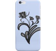 Stylized Botanical Drawing Tulip Blue Background iPhone Case/Skin