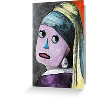 Robot with a Pearl Earring Greeting Card