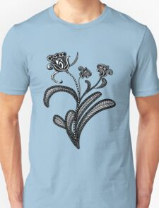 Stylized Botanical Drawing Tulip Blue Background Unisex T-Shirt