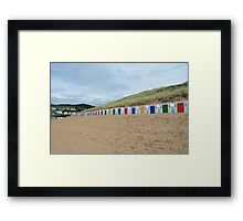 Beach huts,Woolacombe,North Devon,England Framed Print
