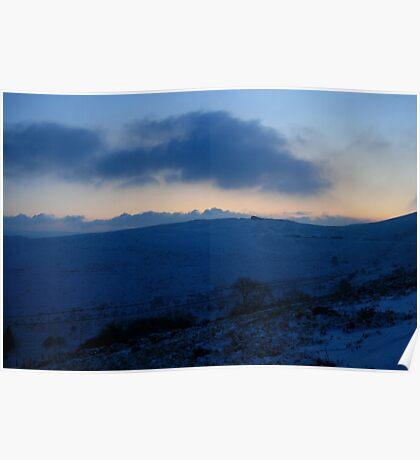 Blue snowscape. Poster