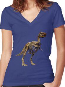 Dinosaur skeleton  Women's Fitted V-Neck T-Shirt