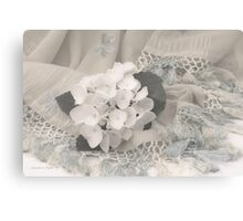 White Hydrangea Flower And Fringed Sari  Canvas Print