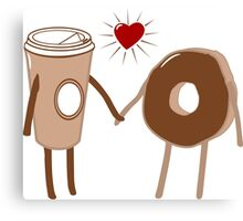 Coffee Loves Donut Canvas Print