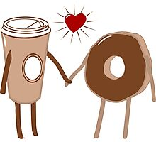 Coffee Loves Donut Photographic Print