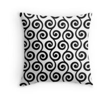 Black Geometric Swirl Pattern Throw Pillow