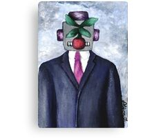 Robot with Apple Canvas Print
