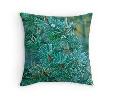 Frozen Evergreen Throw Pillow
