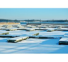 Cold Lake Marina in the Snow Photographic Print