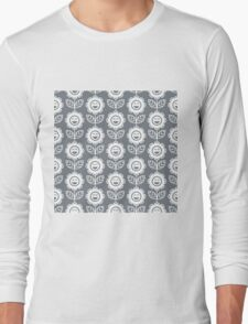 Cool Grey Fun Smiling Cartoon Flowers Long Sleeve T-Shirt