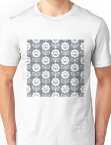Cool Grey Fun Smiling Cartoon Flowers Unisex T-Shirt