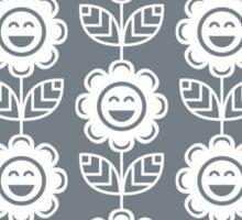 Cool Grey Fun Smiling Cartoon Flowers Sticker