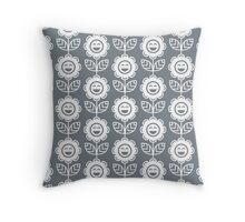 Cool Grey Fun Smiling Cartoon Flowers Throw Pillow