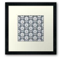 Cool Grey Fun Smiling Cartoon Flowers Framed Print