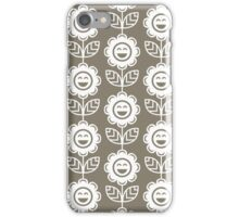 Warm Grey Fun Smiling Cartoon Flowers iPhone Case/Skin
