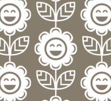 Warm Grey Fun Smiling Cartoon Flowers Sticker