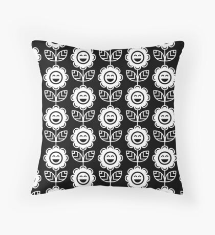 Black Fun Smiling Cartoon Flowers Throw Pillow