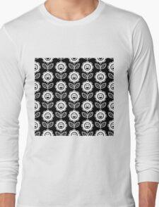 Black Fun Smiling Cartoon Flowers Long Sleeve T-Shirt