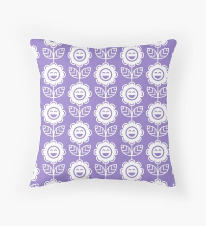 Lavander Fun Smiling Cartoon Flowers Throw Pillow