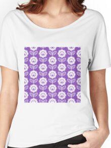 Light Purple Fun Smiling Cartoon Flowers Women's Relaxed Fit T-Shirt