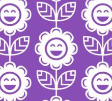 Light Purple Fun Smiling Cartoon Flowers Sticker