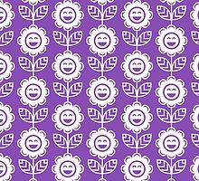 Light Purple Fun Smiling Cartoon Flowers by ImageNugget