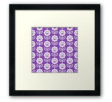 Light Purple Fun Smiling Cartoon Flowers Framed Print