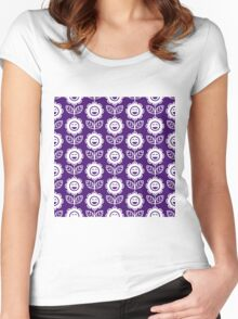 Purple Fun Smiling Cartoon Flowers Women's Fitted Scoop T-Shirt