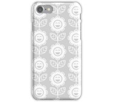 Light Grey Fun Smiling Cartoon Flowers iPhone Case/Skin