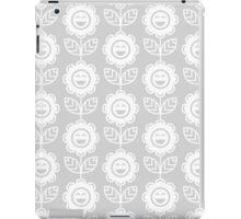 Light Grey Fun Smiling Cartoon Flowers iPad Case/Skin