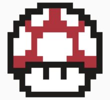8-Bit Mario Nintendo Mushroom Red by astropop