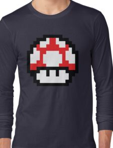8-Bit Mario Nintendo Mushroom Red Long Sleeve T-Shirt